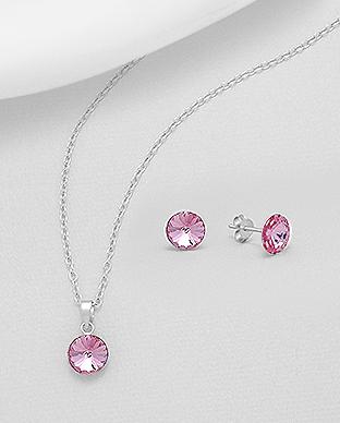 Set Rivoli Rose Swarovski Elements - náušnice a přívěsek 99118797790