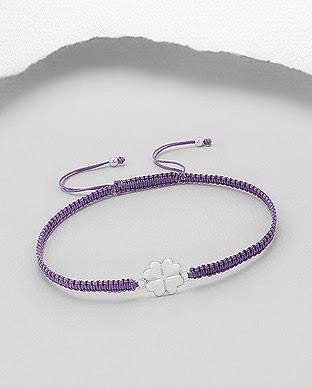 e37bd5e95 Náramek Shamballa se čtyřlístkem - Light Purple | Stříbrné šperky od ...
