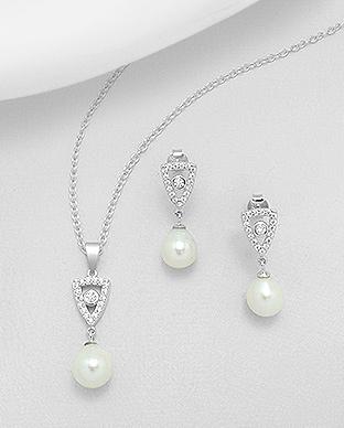 Set říčních perel - náušnice a přívěsek - 5 c40e89a6471