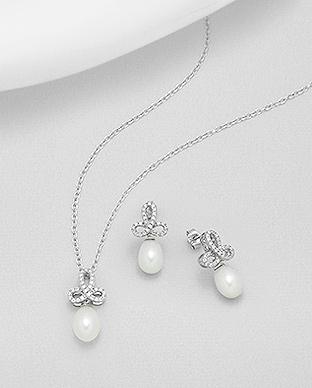 Set říčních perel - náušnice a přívěsek - 6 08662a5fbd8