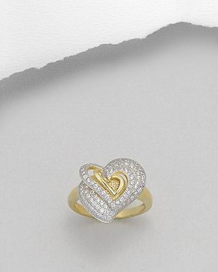 Prsten vel. 52 - srdce se zirkony - pozlaceno 69ec713131