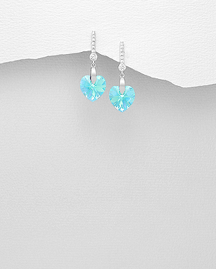 Náušnice srdíčka 10x27mm Light Aquamarine Swarovski Elements - 2,4gr