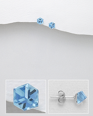Náušnice kostky  4mm Aqua Swarovski Elements - 0,7gr