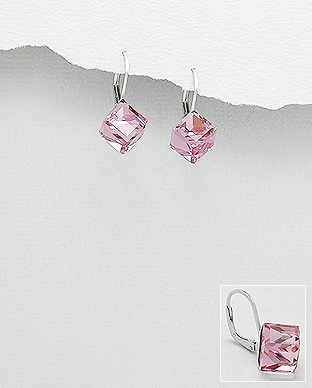 Náušnice kostky na klapku - 8mm Rose Swarovski Elements - 3,4gr